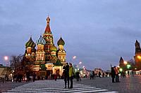 St Basils cathedral at night, Red Square, Moscow. Russia