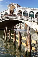 View of moorings and the Rialto Bridge, Sestière di San Marco, Venice, Veneto, Italy