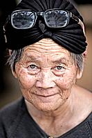 Portrait of an old woman in Laos