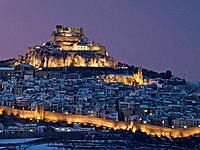 Morella in winter at dusk. Castellon province, Comunidad Valenciana, Spain