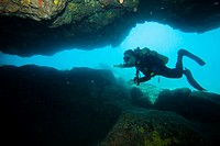 Man diving, Oahu, Hawaii, USA