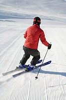 Woman skiing, Sun Valley, Idaho, USA