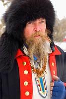 Trader in colonial garb, Grizzly Mountain Long Rifles Horse Ridge Rendezvous, Deschutes County, Oregon, USA