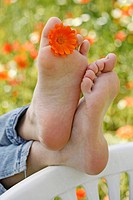 Bare feet. Resting