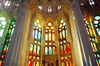 Stained glass window at the Sagrada Familia temple by Gaudí, Barcelona. Catalonia, Spain