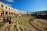 Arena Roman amphitheater, Pula. Istrian peninsula, Croatia