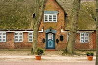 Historic Captain´s house in Village Niblum  Island Foehr  Schleswig-Holstein  Germany