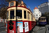City Loop Tram in Christchurch, Cathedral Square, East Coast, South Island, New Zealand