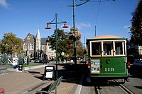 Tram at Worcester Boulevard, Christchurch, Canterbury, East Coast, South Island, New Zealand