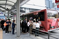 Bus terminal at Kyoto Station, Shimogyo-ku, Kyoto, Kansai prefecture, Japan
