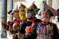 Baile del Toro (´bull dance´) traditional dance with animals and conquerors masks, Antigua Guatemala, Sacatepequez department, Guatemala