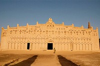 Burkina Faso. Sahel. Town of Bani. Sudanese style mosque. Traditional adobe architecture. Muslim Village.