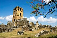 Panama. Panama city. The ruins of Panama Vieja. Tower of the Cathedral.