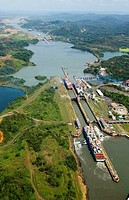 Panama. Panama Canal and  Miraflores locks. Aerial view.