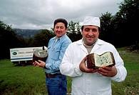 Alonso brothers. Cheese Picos de Europa. Posada Valdeón. Leon. Picos de Europa National Park.