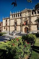 Façade by Rodrigo Gil de Hontañon of old Colegio Mayor de San Ildefonso (now rector´s office) of the University of Alcala de Henares, Alcala de Henare...