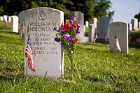 USA, VA, Arlington. A grave stone of a Chaplain in the Army during World War Two.