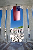 USA, VA, Arlington.  American Flags are hung around the Ampitheater located adjacent to the Tomb of the Unknown Soldier at Arlington National Cemetery...