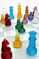 chessboard with multi-coloured players