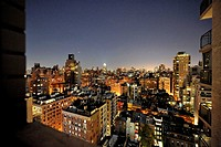 Night view from Upper East Side, New York City apartment