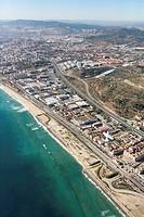 Spain, Catalonia, Barcelona, Barcelonés, Badalona, industrial area between C-32 freeway and N-II road
