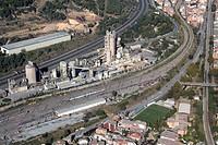 Spain, Catalonia, Barcelona, Barcelonés, Montcada, Lafarge cement plant, freeway C-33