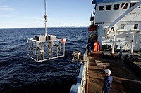 On board Norwegian Polar Institute ´RV Lance´ research ship for climate change investigations. Spitsbergen island, Svalbard archipelago, Arctic Ocean,...