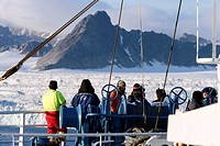 Glacier, on board Norwegian Polar Institute ´RV Lance´ research ship for climate change investigations. Spitsbergen island, Svalbard archipelago, Arct...