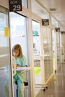 Nurse taking notes, ICM-Neurotrauma. Hospital Universitario de Gran Canaria Doctor Negrin, Las Palmas de Gran Canaria. Canary Islands, Spain