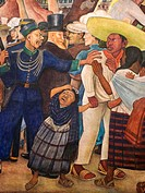 Dream of a Sunday Afternoon in Alameda (Sueno de una tarde dominical en la Alameda Central). Fragment. Diego Rivera. Museo mural Diego Rivera. Mexico ...