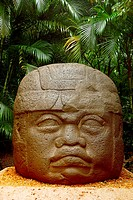 Olmec head at La Venta museum-park, Villahermosa, Tabasco, Mexico