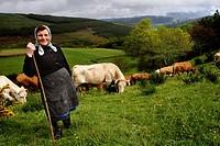 A woman tending cows in the high A Fontaneira, Lugo