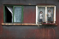 children at the window. Copsa Mica is the most polluted town in Europe.April  Romania