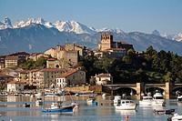 Panoramic view of San Vicente de la Barquera Cantabria Spain.