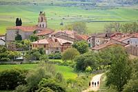 Camino de Santiago, Santigo route trough Ages village, Burgos, Castilla, Spain