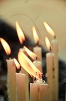 Candles burning at a Christian shrine Vypeen Island, Kerala, India