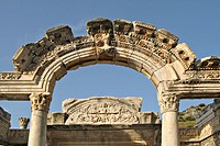 The facade of Hadrian´s temple, Turkey Close-up of sculpted friezes at the Roman ruins of Ephesus.