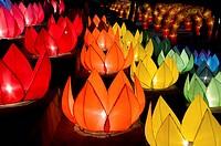 lotus lanterns along the riverside in Chiang Mai Thailand