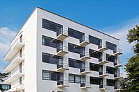 Bauhaus, Bauhaus-Building, close-up balconies, Dessau-Roßlau, Saxonia-Anhalt, Germany, Europe