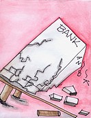 Conceptual illustration of a collapsing bank