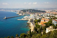 Overlooking Nice harbour and town, Nice, France