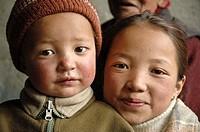 Tibetan brother and sister Lama Yuru, Ladakh, India