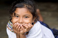 Guatemala, Mayan Girl looking at camera
