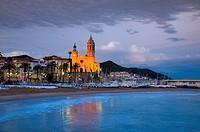 Spain, Catalunia Catalunya, Sitges, Sant Bartomeu i Santa Tecla Church