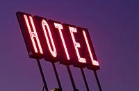 USA, Colorado, Denver, Hotel sign