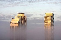 Florida, Miami Beach, South Pointe, Murano, Icon, high rise, condominium, fog, low, visibility, weather, building, architecture, modern, top floors,