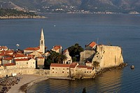 Budva,old town peninsula,Cathedral of St John,Bell tower,fortification walls,Adriatic coast,Montenegro