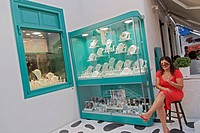 Jewellery in the Chora, Mykonos town, Mykonos, part of the Cyclades in the Aegean See, Greece
