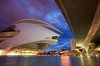 Spain. Comunidad Valenciana. Valencia. City of the Arts and the Science. Palau de les arts Reina Sofía, opera house and performing arts center. It con...