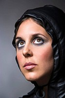 Woman with leather hood, portrait